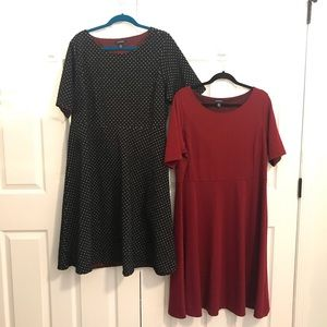 Set of two ponte knit dresses in black and red